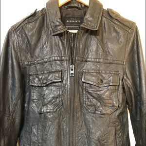 Men's All  Saints Black Leather Jacket